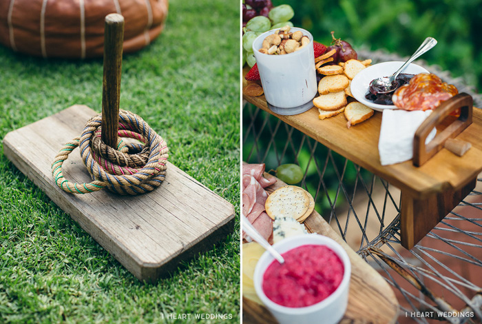 cute wedding details and food platter